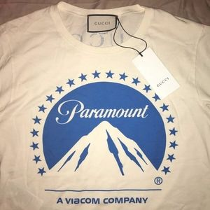 GUCCI Oversize T-Shirt Paramount Logo in White